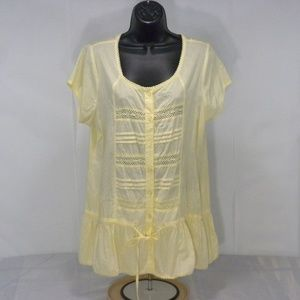 Claudia Richard XL Embroidered Lace Button Tunic